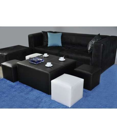 BLIX TABLE BASSE + 4 POUFS