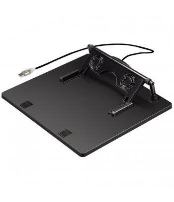 Support inclinable pour pc portables avec 2 ventilateurs USB, noir