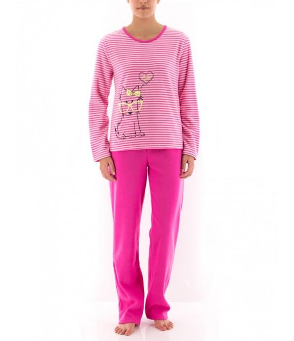 SOCUTE Pyjama Long Rayé Fuschia Femme