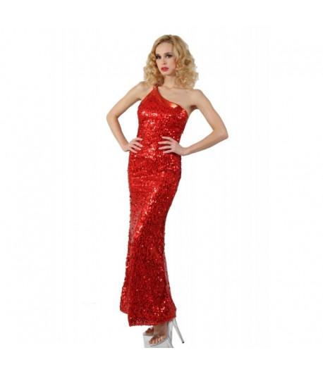 Robe Soirée Longue en Sequin Rouge