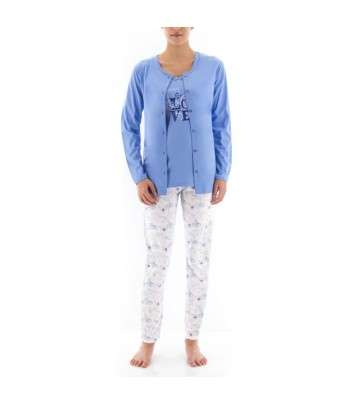 Pyjama 3 Pièces Avec Veste Bleu
