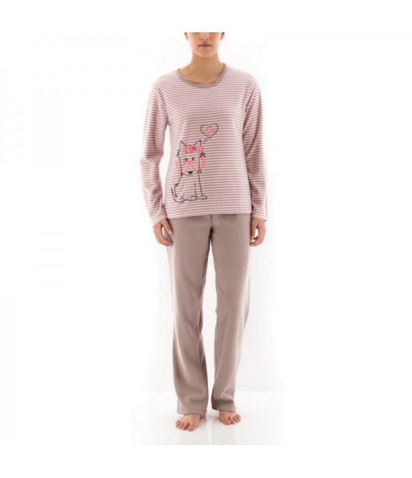 Pyjama Long Avec Haut Rayé Imprimé