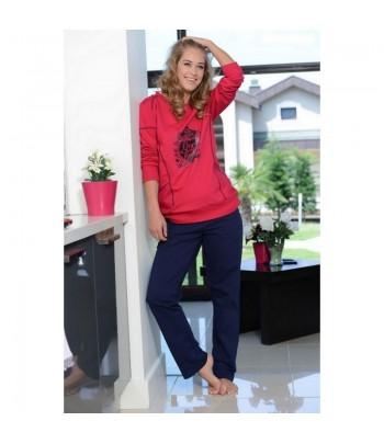 Pyjama 2 Pièces Manches Longues Rouge