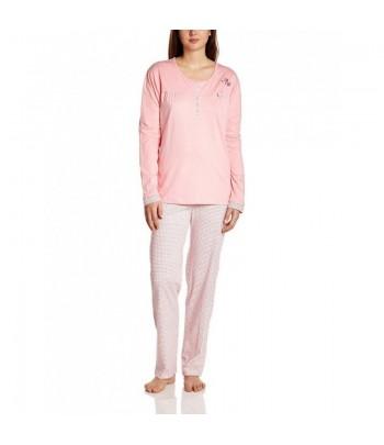Pyjama Long 2 Pièces Avec Pantalon Imprimé Saumon