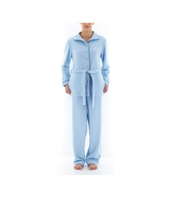 Pyjama Long En Micro Polaire Bleu
