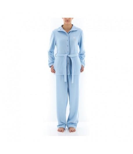 Pyjama Long Micro Polaire Bleu