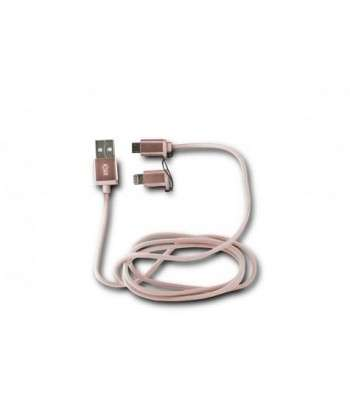 KSIX SYNC & DATA CABLE 2IN1 USB-MICRO USB WITH LIGHTNING ADAPTER METALLIC PINK - boutika.ma