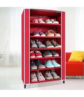 Porte Chaussures 6 étages - Rouge