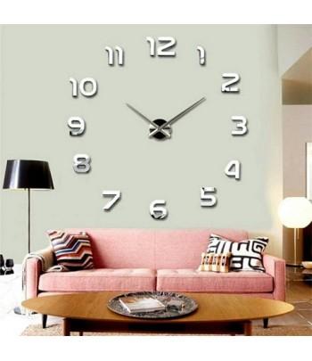 Horloge Murale Design 3D Argenté