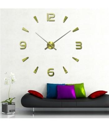 Horloge Murale Design 3D Doré