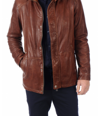 Jacket cuir marron