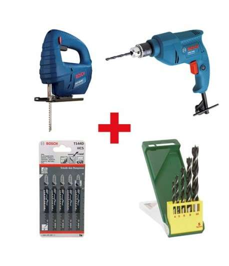 BOSCH Pack Scie GST 65BE+Perceuse GBM 1000+Accessoires